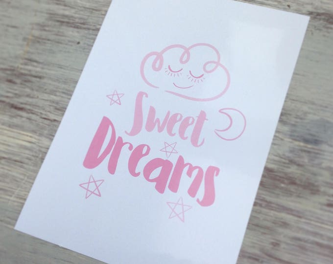 Sweet dreams print | quote | Wall prints | Wall decor | Home decor | Print only | Typography