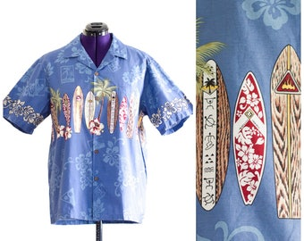 Men's blue Hawaiian button up shirt