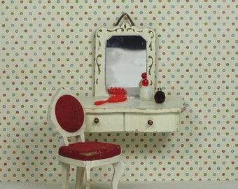 Doll house vintage vanity set Lundby 1960s 1970s furniture white