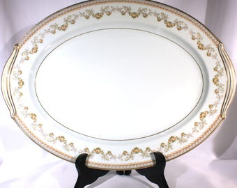 Noritake China Serving Platter, Shelburne 5316 Brown Laurel with Roses