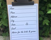 Wedding Advice Address Cards, Address File Cards, Advice For The Bride And Groom