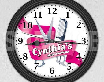 Hairdresser Hairstylist Cosmetologist Personalized Wall Clock - Salon Decor ITEM#021