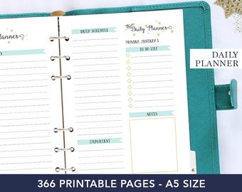 Daily planner 2018 - 2018 planner printable - Planner refill 2018 - A5 daily printable agenda - Dated journal - Coworker gift - For women