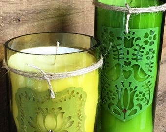 Recycled Wine Bottles Green Candle Set