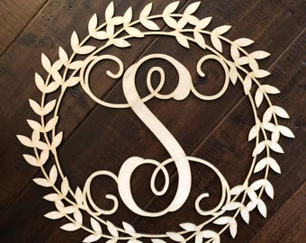 Wooden Laurel wreath, personalized laurel wreath, laurel wreath door hanger, monogram laurel wreath