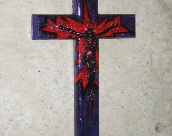 Petit Croix chrétienne Objet d'art religieux artistique Pop Art Crucifix Cross paillettes