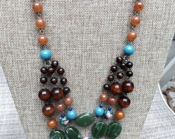 Robert Rose Beaded Resin Necklace Signed