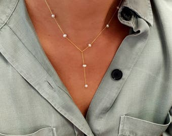 dainty white freshwater pearl lariat necklace, gold vermeil, 925 sterling silver