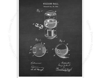 Billiard Ball Decor art print #2 Billiard Ball design invented in 1894 with chalkboard background
