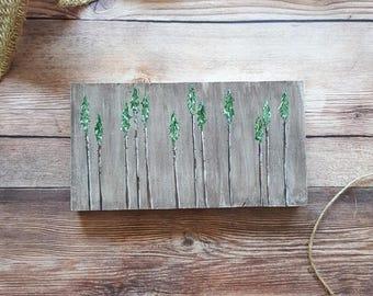 Pine Tree, Painting on Wood, Rustic Decor