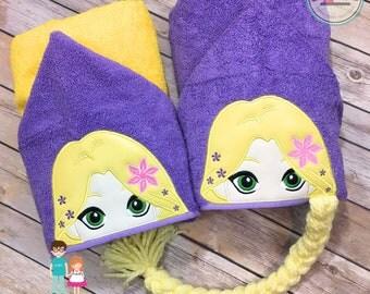 Rapunzel Hooded Towel, Kid's Hooded Towel, Rapunzel Bath Towel, Long Hair Princess Hooded Towel, Princess Pool Towel, Tangled Towel Decor