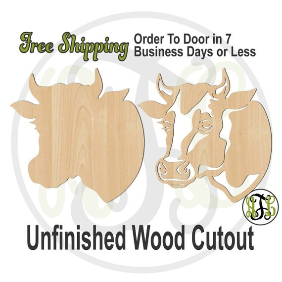 Cow Head Solid or Outline- 230116-117- Farm Animal Head Cutout, unfinished, wood cutout, wood craft, laser cut shape, wood cut out, wooden