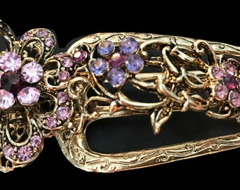 New Antique Gold Woth Amethyst Aligator 4 1/2'' Claw Clip