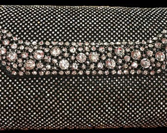 New Black With Crystal &  Rhinestone Flap   -Clutch Evening Handbag