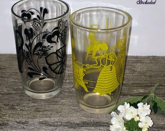 2 Vintage Swanky Swig Glasses, Bustling Betty Glass, Coffee Pot with Trivet Juice Glass, Kraft Cheese Swanky Swig Glasses