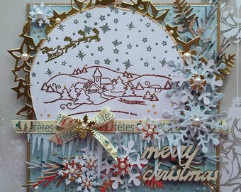Card is 3D, shabby, vintage, Christmas, new year's Eve.
