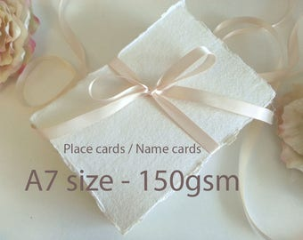 Cotton Rag Paper - A7 card - torn edge hand made place cards name cards tags - 150gsm - 100% recycle - Indian - deckle edge - Pure Invites