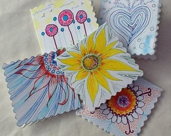 greetings cards , 5 cards, handpainted cards, message cards , thankyou cards, blank cards, patterned cards, useful cards , set of cards,