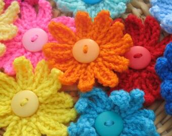 Set Of 5 Crochet Large Flower Applique.