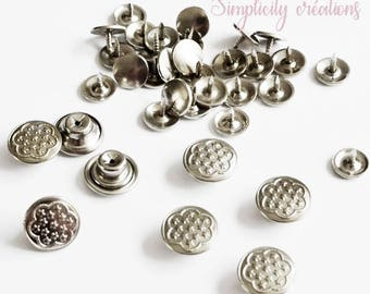 Jeans Stud set of 10 silver metal buttons