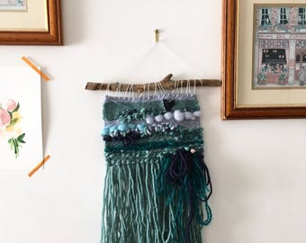 The Little Mermaid Wall Hanging, Mermaid Gifts, Fairytale Nursery, Tapestry Woven, Nautical Sea Themed Room Decor, Little Girl Turquoise Art
