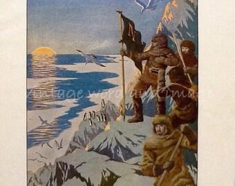 1936 Jules Verne Twenty Thousand Leagues Under the Sea Art Print Vintage Lithograph Captain Nemo Arctic Steampunk Fantasy Penguin