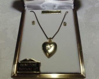 Vintage Rhinestone Gold Heart Locket & Earrings (1960's)