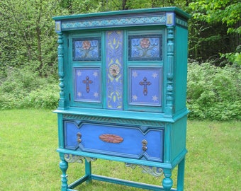 SOLD  Painted china cabinet, china hutch, santa fe china cabinet, antique china cabinet