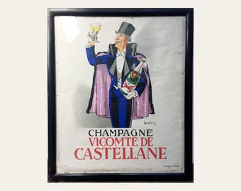 Antique French Champagne Vicomte de Castellane Poster - The Monocle - Early Twentieth Century