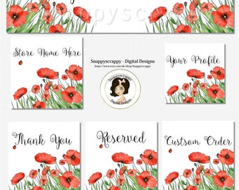 Etsy Banner Set, Watercolour florals, Premade Deisgn, Poppies