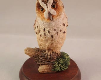 "Border Fine Arts Resin Long Eared Owl on Wooden Plinth, Model No. WB05 – 10cm, 4"" *very slight damage*"