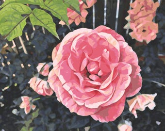 Printable Instant Download Pink Rose Art