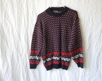 80s Heart Print Knit Sweater