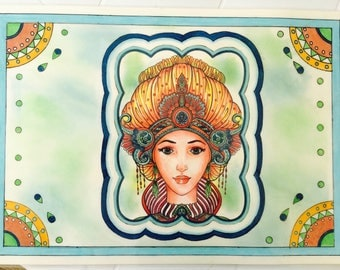 Blue woman placemat