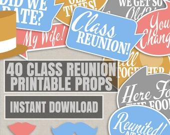35 Class reunion party photo props, reunion party photo booth props, school reunion selfie props, school reunion photobooth party props
