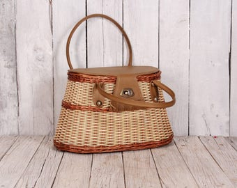 1930s straw and plastic bag - Handmade straw bag - Woven straw bag - Antique summer bag - Vintage straw bag - Summer woven straw handbag