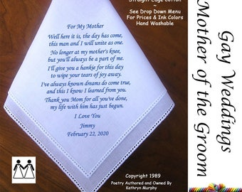 Gay Wedding ~ Mother of the Bride Gift From the Groom G104 Title, Sign & Date for Free!  Poem Printed Hankie Gay Wedding