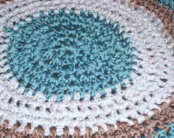 Vintage Nylotex Handmade Rug, Qualicraft Nylon Knitting Fabric Yarn, Woven Rug, 100% Nylon Yarn, Nylotex Craft, Grandma's Rug, Handwoven Rug