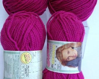 Softee Chunky by Bernat Yarn, Premium Magenta Yarn Bundle, Crochet & Knitting Yarn Destash Chunky Yarn for Handmade Gifts Fiber Art Projects