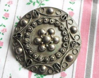 Antique Silver Filigree Victorian Brooch