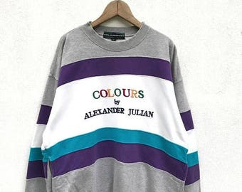 BIG SALE Vintage Colours bu Alexander Julian Sweatshirt / Color Block Sweatshirt / Designer Clothing