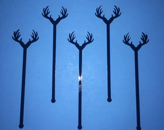 Antler Drink Stirrer, Perfect Weddings, Wedding Shower, Antlers, Swizzle Sticks, Party, Bohemian, Acrylic, Laser Cut, Bar Decor, 6 Pack