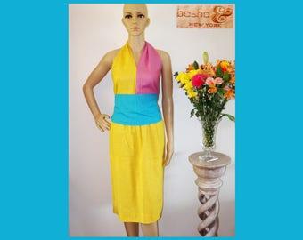 80s COLOR BLOCK New York Boutique Yellow/Pink/Aqua Halter Top Skirt Belt Dress~3 pc Outfit Set~Festival~New Wave~Memphis~Mint Vintage~Size M