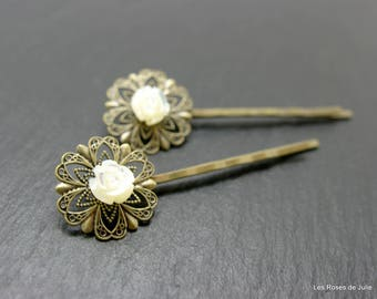 2 art deco rose carved mother of Pearl hair pins