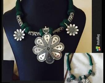 Green Threaded Necklace/Indian Jewelry/Oxidized Silver/Ethnic Wear Jewelry/Latest Fashion Jewelry/Bombay Fashion/Gifts