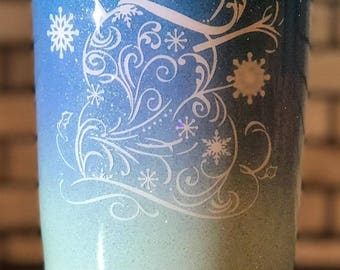 Personalized Snowman and Snowflakes Ombre Fade and Glitter Painted and Epoxy Cleared 20 oz tumbler