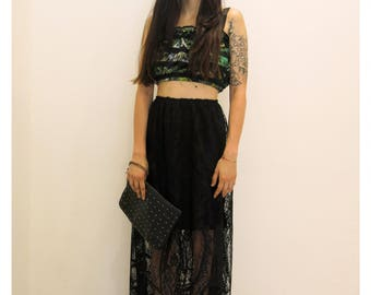 Boho / Gypsy / long skirt / lace skirt/ black skirt / with fringes