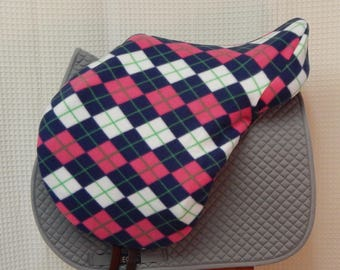 Dressage or Jump/AP saddle cover-- Pink/Navy/White argyle
