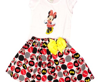 Minnie Girl dress Minnie birthday dress  girl age name Minnie Mouse dress  Minnie birthday outfit girl age name dress Minnie Mouse dress