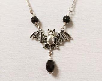 Vampire bat necklace gothic pendant black stone